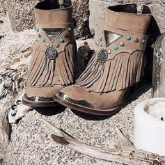 De mujer PU Tacón bajo Botas con Hebilla Borla zapatos