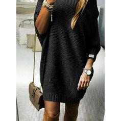 Egyszínű Hosszú ujjú Ingruha Térd feletti Kis fekete/Hétköznapokra Sweter φορέματα