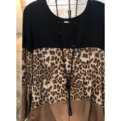 Color Block Leopard Kulatý Výstřih Dlouhé rukávy Flare pouzdro Neformální Halenky