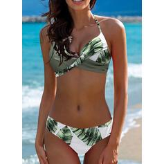 Tropical Print Halter Sexy Bikinis Swimsuits