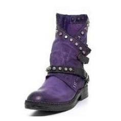 De mujer Cuero Tacón bajo Botas con Rivet Hebilla zapatos