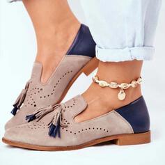Women's PU Flat Heel Flats With Tassel Splice Color shoes