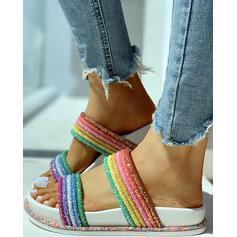 Kvinnor PVC Flat Heel Sandaler Peep Toe Tofflor med Strass skor