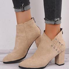 Femmes Suède Talon bottier Bottines Talons Bout pointu avec Zip Couleur unie chaussures