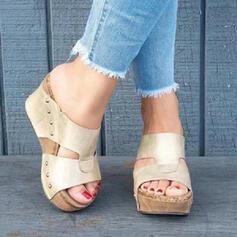 De mujer PU Tipo de tacón Sandalias Encaje Pantuflas con Agujereado zapatos