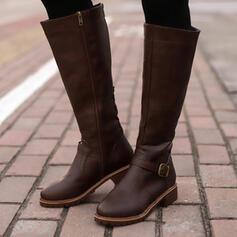 PU Толстый каблук ботинки Высокие сапоги с пряжка Молния Сплошной цвет обувь