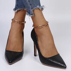 婦人向け PU スティレットヒール ポンプ かかと とともに ソリッドカラー 靴