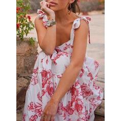 Impresión/Floral Sin mangas Acampanado Patinador Casual/Vacaciones Maxi Vestidos