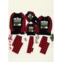 Kostkovaný Dopis Tisk Rodinné odpovídající Vánoční pyžama