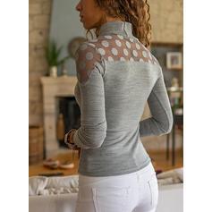 Solido Pizzo A pois Alto collo Maniche lunghe Elegante Camicie