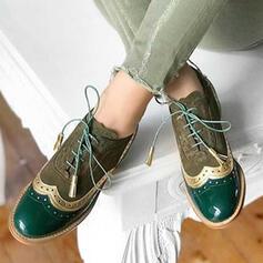 Frauen Kunstleder Flascher Absatz Flache Schuhe mit Zuschnüren Zweiteiliger Stoff Schuhe