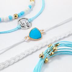 Colorato Boho Attraente Più Livelli lega con Perline di plastica Bracciali 5 pezzi