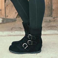 Mulheres PU Sem salto Sem salto Botas Botas na panturrilha com Fivela sapatos