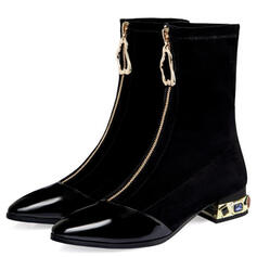 Dámské PU Široký podpatek Kozačky do půl lýtek Špičatá špička S Zip Podpatek se šperky Solid Color obuv