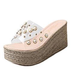 Bayanlar PU Sivri topuk Terlik Ile inci ayakkabı