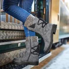 De mujer Ante Tacón bajo Botas Botas longitud media con Cordones zapatos