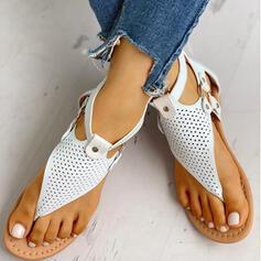 De mujer PU Tacón plano Sandalias Encaje con Hebilla Cremallera zapatos