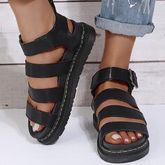 De mujer PU Tipo de tacón Sandalias Planos Plataforma Encaje con Hebilla Color sólido zapatos