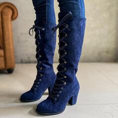 Pentru Femei Piele de Căprioară Toc gros Cizme până la genunchi Deget rotund cu Lace-up Culoare solida pantofi