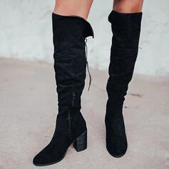 Donna Camoscio Tacco spesso Stivali sopra il ginocchio Stivali da equitazione Punta rotonda con Cerniera Allacciato Colore solido scarpe