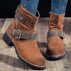 Women's PU Chunky Heel Ankle Boots Low Top With Buckle Zipper shoes