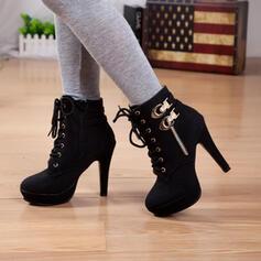 Pentru Femei PU Toc Stiletto Cizme cu Cravată fundă pantofi