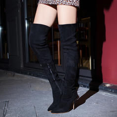 Donna Camoscio Tacco a spillo Stiletto Stivali Stivali sopra il ginocchio con Cerniera scarpe