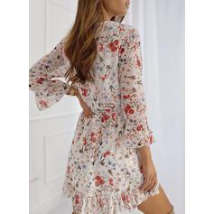 Nadrukowana/Kwiatowy Rękawy 3/4/Rozkloszowane rękawy W kształcie litery A Nad kolana Casual/Elegancki Łyżwiaż Sukienki