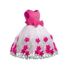 Filles Col rond Floral Dentelle Pailleté Arc Mignon Fête Fille fleurie Robe