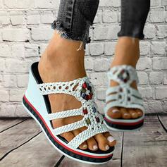 De mujer PU Tipo de tacón Sandalias Pantuflas con Agujereado Correa Trenzada Color de empalme zapatos