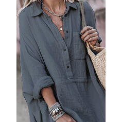 Solid Long Sleeves A-line Above Knee Little Black/Casual Shirt Dresses