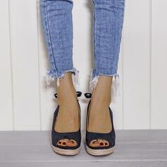 Women's PU Wedge Heel Pumps Peep Toe With Buckle Splice Color shoes