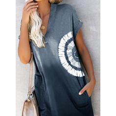 Nadrukowana/Tie Dye Krótkie rękawy Koktajlowa Nad kolana Casual T-shirt Sukienki