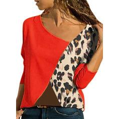 Color Block Leopard V-ringning Långa ärmar Fritids T-shirts