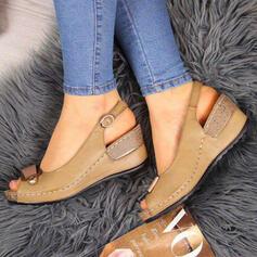 PU Plataforma Sandálias Calços Peep toe com Fivela sapatos