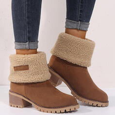 Women's PU Chunky Heel Boots Ankle Boots With Splice Color shoes