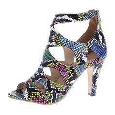 De mujer PU Tacón stilettos Salón Encaje con Estampado de animales Cremallera zapatos