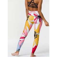 Cuello Redondo Sin mangas Impresión Floral Leggings deportivos Sujetadores deportivos