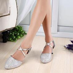 De mujer Sala de Baile Tacones Salón Brillo Chispeante Piel brillante con Tira de tobillo Danza latina