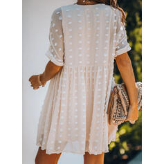 Solid 1/2 Sleeves Shift Above Knee Casual/Vacation Dresses