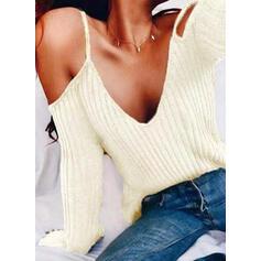 Egyszínű Kivágott vállú Hosszú ujjú Hétköznapokra Σέξι robić na drutach πουκαμίσες