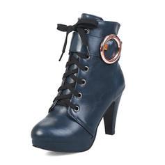 Pentru Femei Imitaţie de Piele Toc Stiletto Platformă Cizme Cizme până la jumătatea gambei cu Cataramă pantofi
