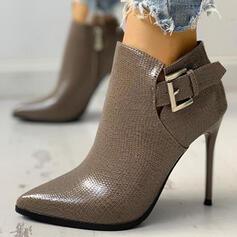 Naisten PU Piikkikorko Terävä varpa Martin saappaat jossa Solki Solid Color kengät