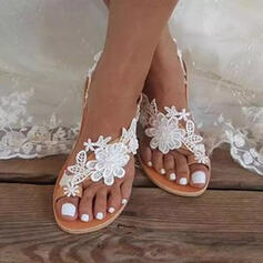 Kvinnor PU Flat Heel Sandaler Platta Skor / Fritidsskor Tå ring med Blomma Solid färg skor