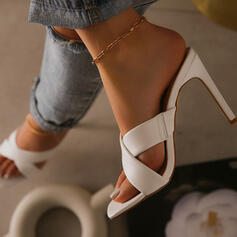 Women's PU Stiletto Heel Sandals Pumps Peep Toe Square Toe Heels With Hollow-out Solid Color shoes
