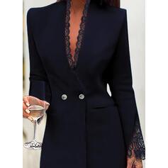 Koronka/Jednolita Długie rękawy Bodycon Nad kolana Mała czarna/Elegancki Sukienki