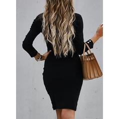 Pevný Dlouhé rukávy Přiléhavé Nad kolena Malé černé/Neformální Šaty