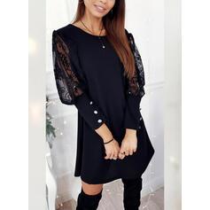 Krajka/Pevný Dlouhé rukávy Splývavé Nad kolena Malé černé/Elegantní Šaty