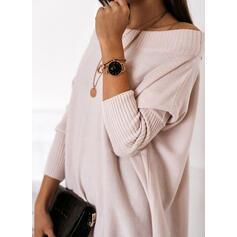 Düz / Tek (Renk) Csipke Mimo rameno Neformální Dlouhé Svetrové šaty