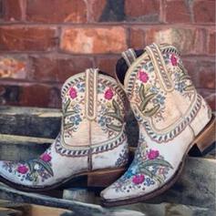 Pentru Femei microfibră Toc gros Cizme până la jumătatea gambei Cu vârful cu Floare Broderie pantofi